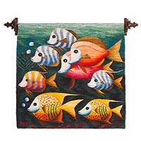 Wool tapestry, 'Open Sea' - Sea Theme Handwoven Andean Wool Tapestry