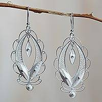 Sterling silver filigree earrings, 'Harmonious Leaves'