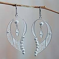 Sterling silver filigree earrings, 'Cherubic Wings'