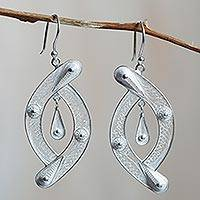 Sterling silver filigree earrings, 'Unison' - Peruvian Filigree jewellery Sterling Silver Hook Earrings