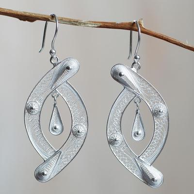 Sterling silver filigree earrings, 'Unison' - Peruvian Filigree jewellery Sterling Silver Hook Earrings