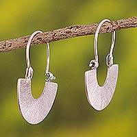 Sterling silver hoop earrings, 'Moonlight Fans' - Artisan jewellery Modern Sterling Silver Hoop Earrings