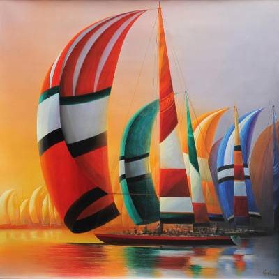 'Challenge I' - Multicolor Sailboats in Peruvian Regatta Signed Painting