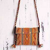Wool shoulder bag, 'Colorina' - Multicolor Hand Woven Wool Shoulder Bag from Peru