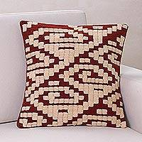Wool cushion cover, 'Inca Geometry'