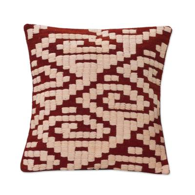 Wool cushion cover, 'Inca Geometry' - Inca Pattern Handwoven Wool Cushion Cover from Peru