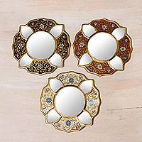 Reverse painted glass mirrors, 'Floral Trio' (set of 3) - Set of 3 Collectible Petite Reverse Painted Glass Mirrors
