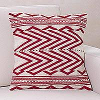 Wool cushion cover, 'Crimson Energy' - Handwoven Red and White Wool Geometric Cushion Cover