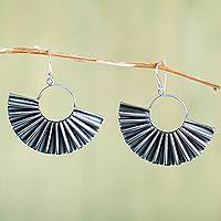 Sterling silver dangle earrings, 'Fanned Out' - Fan Shaped Sterling Silver Earrings Handcrafted in Peru