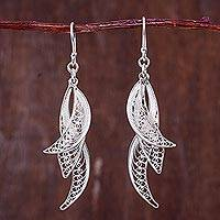 Sterling silver filigree earrings, 'Windswept' - Filigree Leaves in Hand Crafted Sterling Silver Earrings