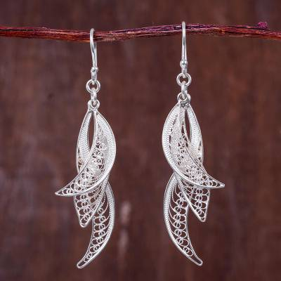 Sterling Silver Filigree Earrings Windswept Leaves In Hand Crafted