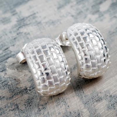 Sterling silver half hoop earrings, 'Silver Brick Road' - Modern Brick Pattern Sterling Silver Earrings from Peru