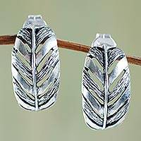 Sterling silver half hoop earrings, 'Rainforest Philodendron' - Modern Leaf Theme Handcrafted Sterling Silver Earrings