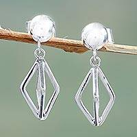 Sterling silver dangle earrings, 'Diamonds Entwined' - Polished Sterling Silver Geometric Design Dangle Earrings