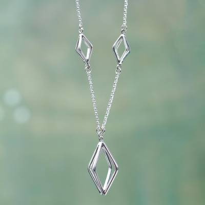 Sterling silver pendant necklace, 'Diamonds Entwined' - Modern Sterling Silver Geometric Necklace Crafted by Hand