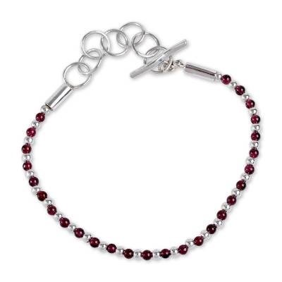 Garnet beaded bracelet, 'Pomegranate' - Sterling Silver and Garnet Handcrafted Beaded Bracelet