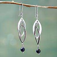 Lapis lazuli dangle earrings, 'Connection in Blue' - Graceful Andean Sterling Silver and Lapis Lazuli Earrings