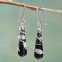Obsidian dangle earrings, 'Black Clematis' - Andean Handcrafted Obsidian Earrings with Sterling Silver