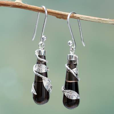 Obsidian Dangle Earrings Black Clematis Andean Handcrafted With Sterling Silver