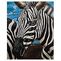 'Zebras' - Peruvian Realist Zebra Painting in Oils on Canvas