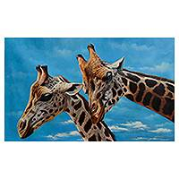 'Giraffes II' (2015) - Original Signed Realistic Up-Close Painting of Two Giraffes