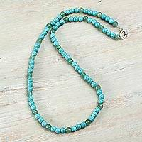Aventurine and reconstituted turquoise beaded necklace, 'Serene Sky' - Aventurine and Reconstituted Turquoise Beaded Necklace