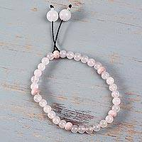 Rose quartz stretch bracelet, 'Angelic Pink' - Peruvian Rose Quartz Stretch Bracelet with Ceramic Beads