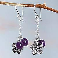 Amethyst cluster earrings, 'Blueberry Blossoms' - Fair Trade Sterling Silver and Amethyst Cluster Earrings