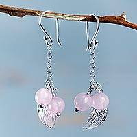 Rose quartz dangle earrings, 'Jungle Leaf' - Handcrafted Andean Rose Quartz Silver Leaf Earrings