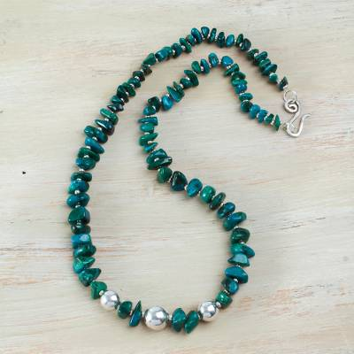 Chrysocolla beaded necklace, 'Andean Opulence' - Handcrafted Andean Chrysocolla Necklace with Sterling Silver