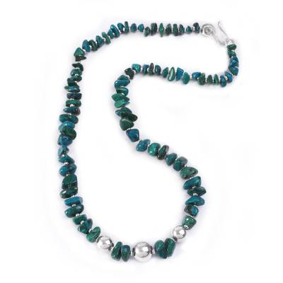 Handcrafted Andean Chrysocolla Necklace with Sterling Silver