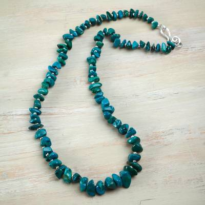 Chrysocolla beaded necklace, 'Perpetually Pretty' - Sterling Silver Accent Handcrafted Chrysocolla Necklace