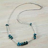 Chrysocolla beaded necklace, 'Modern Andean Chic' - Handcrafted Andean Sterling Silver Chrysocolla Necklace