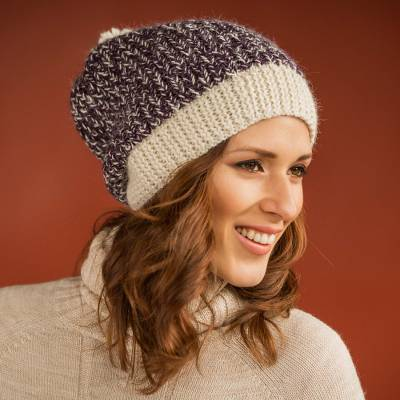 b1b5afe70b2 Purple and Ivory Alpaca Wool Hat Knitted by Hand in Peru - Pretty in ...