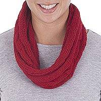 100% alpaca neck warmer, 'Vivacious Style' - Red Neck Warmer Alpaca Scarf Knitted by Hand in Peru