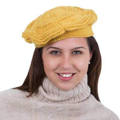 16a2cf6175c8b Yellow Alpaca Beret Hat Knitted and Crocheted by Hand - Beautiful ...