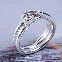Sterling silver solitaire ring, 'Sparkle and Twirl' - Handcrafted Silver 950 Cubic Zirconia Solitaire Ring