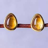 Gold vermeil citrine button earrings, 'Honeydrop' - Handcrafted Peru Gold Vermeil Button Earrings with Citrine