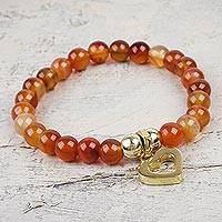 Gold plated carnelian beaded bracelet, 'My Heart of Gold'