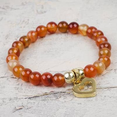 Gold plated carnelian beaded bracelet, 'My Heart of Gold' - Fair Trade Carnelian Bead Bracelet with Sterling Silver Acce