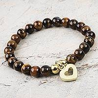 Gold plated tiger's eye beaded bracelet, 'My Heart of Gold' - Shiny Golden Heart Charm on Tiger's Eye Beaded Bracelet