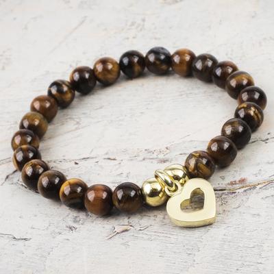 Gold plated tiger's eye beaded bracelet, 'My Heart of Gold' - Shiny Golden Heart Charm on Tiger's Eye Beaded Bracelet