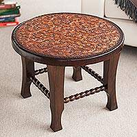 Tornillo wood and leather accent table, 'Colonial Floral Fantasy'