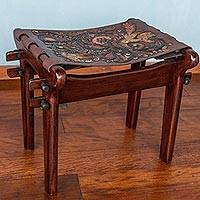 Featured review for Tornillo wood and leather stool, Andean Paradise