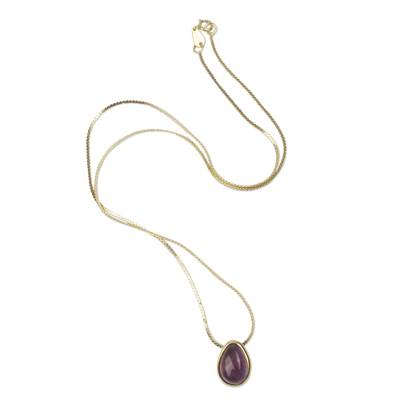 Gold plated amethyst necklace, 'Cherry Drops' - Amethyst Pendant on 18k Gold Plated Peruvian Necklace