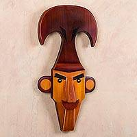 Wood mask, 'Regal Lord of Sipan' - Modern Version of Pre-Inca Ruler Wood Mask Signed by Artisan