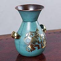 Copper and bronze vase, 'Moche Victory' - Classic Copper Vase Hand Crafted with Bronze Iconography