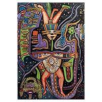 'Nazca Lord' - Original Painting of Inca Mythology Signed Artwork