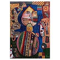 'Moche with Tattoos' - Inca Themed Multi Colored Signed Abstract Painting