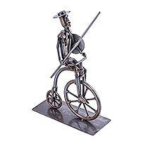 Upcycled auto part sculpture, 'Quixote Rides a Bike' - Eco-Friendly Recycled Metal Sculpture of Don Quixote on Bike